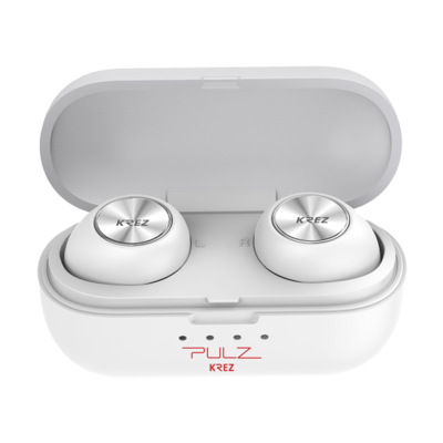 Wireless earphones KREZ PULZ EP01 with charging box, microphone, white