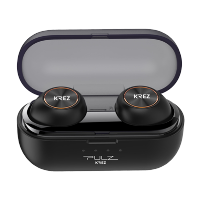 Wireless earphones KREZ PULZ EP02 with charging box, microphone, black